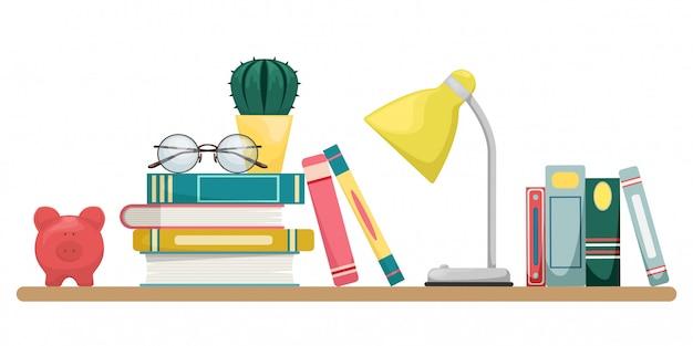 Pilha de livros com uma lâmpada, óculos e cacto. projeto de conceito de conhecimento, aprendizagem e educação. Vetor Premium