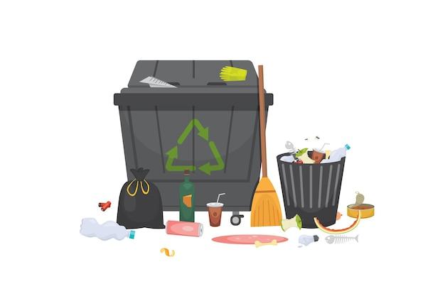 Pilha de lixo lixo de vidro, metal e papel, plástico eletrônico, orgânico. ilustração isolada. Vetor Premium