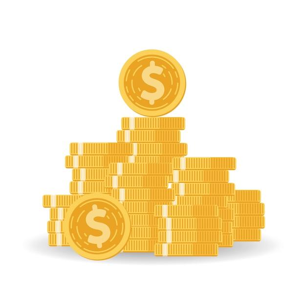 Pilha de moedas com fundo mútuo, aumento de renda Vetor Premium
