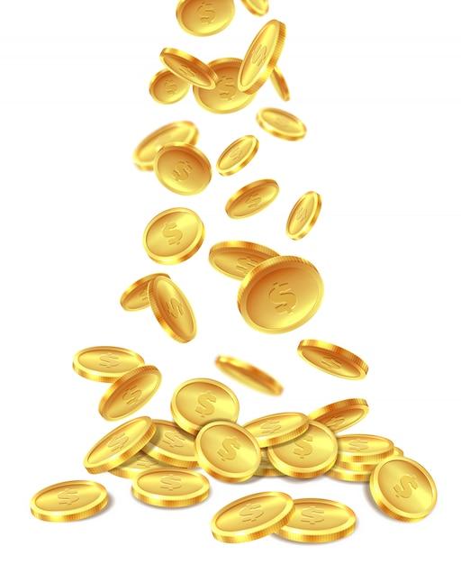Pilha de moedas de ouro. moeda de ouro moeda heap dinheiro riqueza, voando pilhas de tesouro de dólares de metal. bônus de vitória do jackpot do cassino, imagem Vetor Premium
