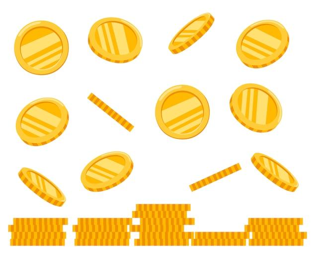 Pilha de moedas de ouro. moedas caindo. ícone de dinheiro dourado. crescimento, renda, investimento. ilustração em fundo branco Vetor Premium