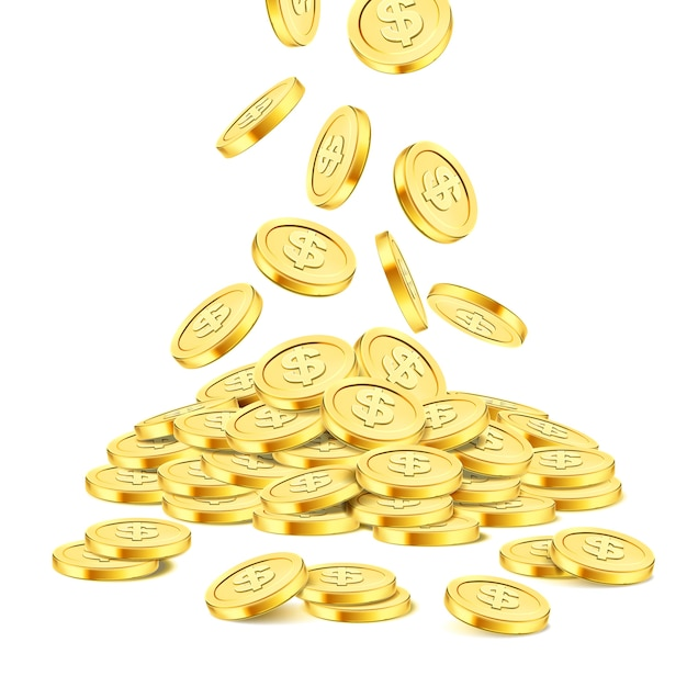 Pilha de moedas de ouro realistas sobre fundo branco. chuva de moedas de ouro. dinheiro caindo na pilha. bingo jackpot ou casino poker ou elemento de vitória. modelo de conceito de sucesso de tesouro de dinheiro. ilustração 3d Vetor Premium