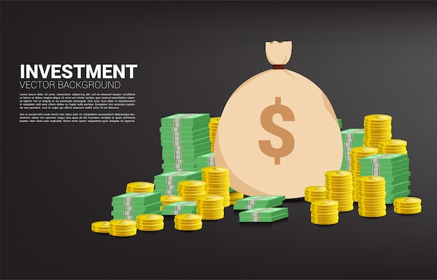 Pilha de moedas e notas com saco de dinheiro. conceito de investimento de sucesso e crescimento nos negócios Vetor Premium