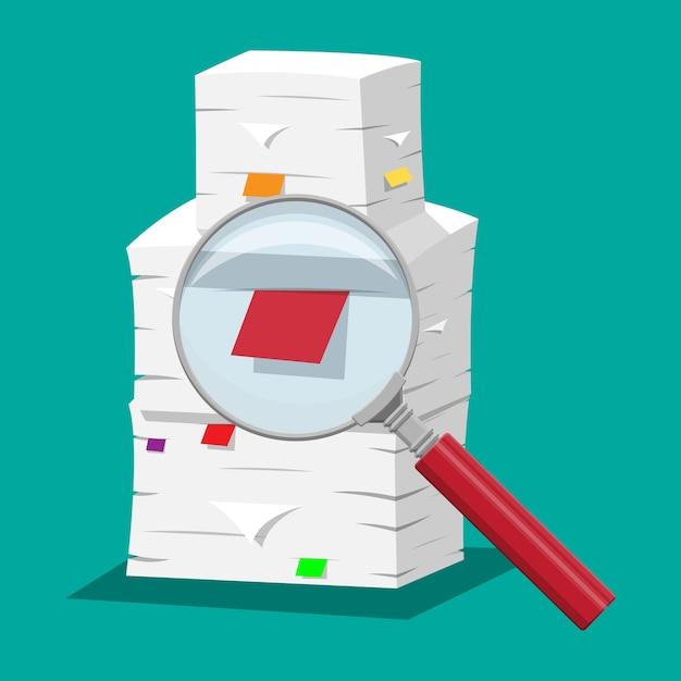 Pilha de papéis. pilha de documentos de escritório e lupa. rotina, burocracia, papelada, big data, repositório, arquivo, pesquisa, escritório. em estilo simples Vetor Premium