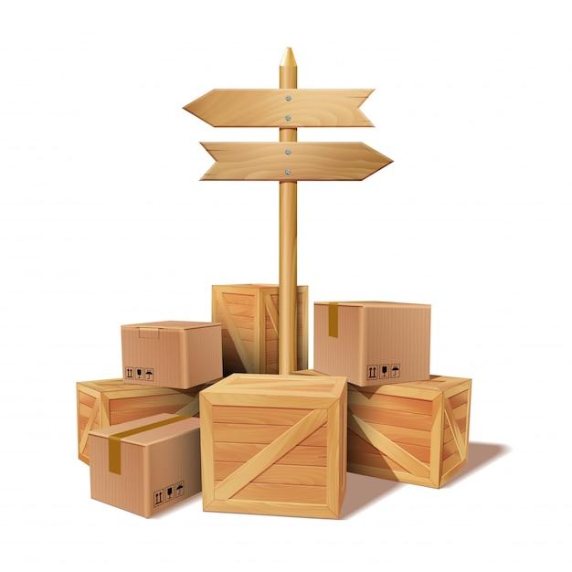 Pilha de papelão empilhado de mercadorias e caixas de madeira. Vetor Premium
