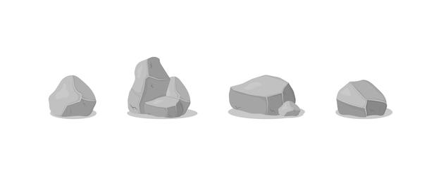 Pilha de pedra cinza, ícones dos desenhos animados. conjunto de pedras de granito cinza de várias formas 3d. rocha, carvão e rochas da grafite no fundo branco. Vetor Premium
