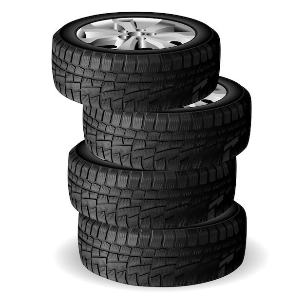 Pilha de pneus de inverno. oficina de reparação de pneus. roda automática Vetor Premium