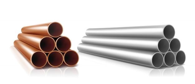 Pilha de tubos, cilindros retos de aço ou cobre Vetor grátis