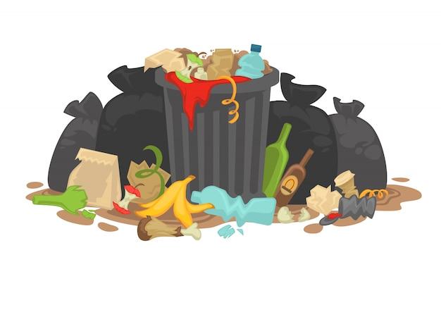 Pilha do lixo de deterioração deixado de encontro ao redor. Vetor Premium