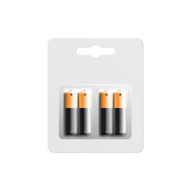 Pilhas alcalinas na ilustração realista do modelo de pacote. Vetor Premium