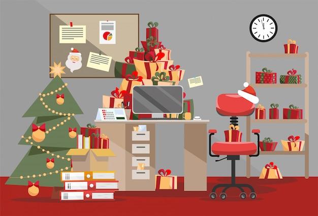 Pilhas de caixas de presentes e pilha de documentos na mesa. Vetor Premium