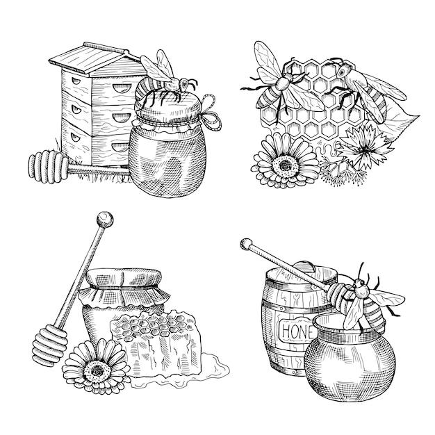 Pilhas de mão desenhada mel conjunto de elementos. de desenho de mel e inseto de abelha Vetor Premium