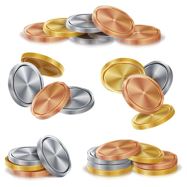 Pilhas de moedas de ouro, prata, bronze e cobre. Vetor Premium
