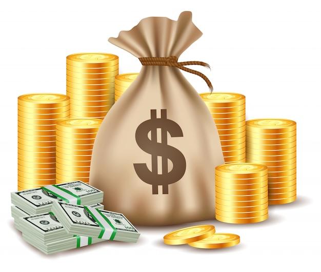 Pilhas de moedas e saco de dinheiro. Vetor Premium