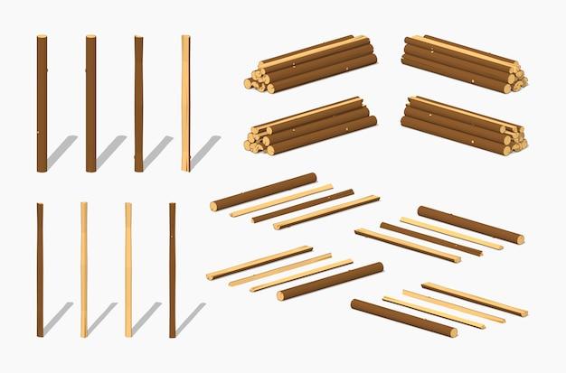 Pilhas de troncos isométricos 3d lowpoly Vetor Premium