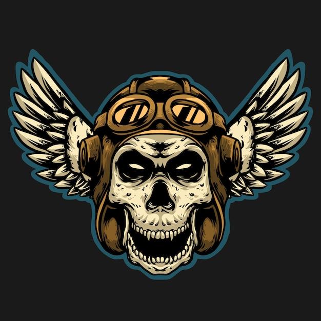 Piloto de caveira com logotipo de projeto de mascote de capacete vintage Vetor Premium