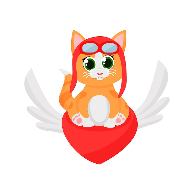 Piloto de gatinho fofo voando no coração vermelho Vetor grátis