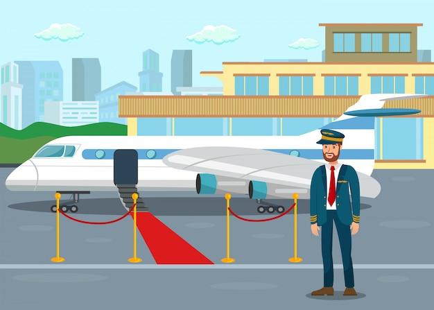 Piloto na ilustração de vetor plana terminal de aeroporto Vetor Premium