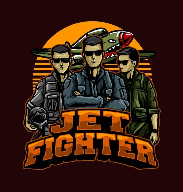 Pilotos de caça a jato Vetor Premium