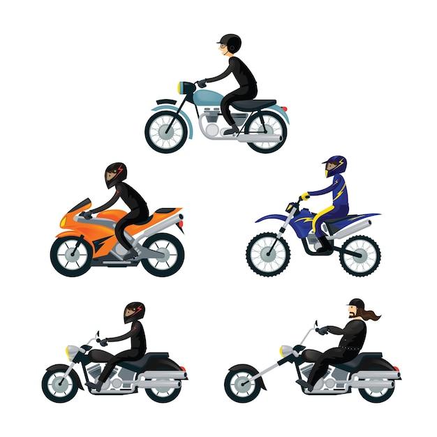 Pilotos de motocicleta, conjunto de motociclistas, usar roupas esportivas de proteção Vetor Premium
