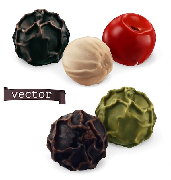 Pimenta preta, branca, verde e rosa. close-up de pimenta. ilustração 3d realista Vetor Premium