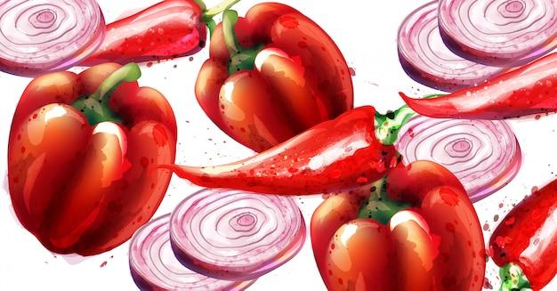 Pimenta vermelha e cebola Vetor Premium