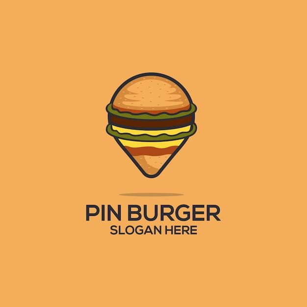 Pin burger Vetor Premium
