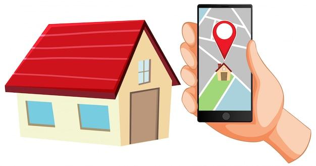 Pin de localização no ícone do aplicativo móvel Vetor grátis