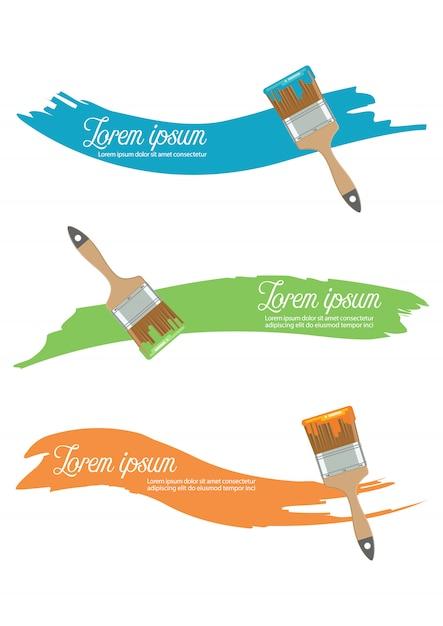 Pincel com cor de tinta em estilo simples Vetor Premium