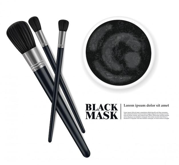 Pincel de maquiagem e design de máscara facial de carvão vegetal, produto de beleza 3d conjunto realista, pincéis isolados na ilustração de fundo branco Vetor Premium