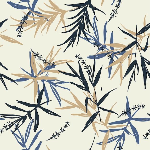 Pincel de vetor sem costura padrão azul e folhas de bambu bege Vetor Premium