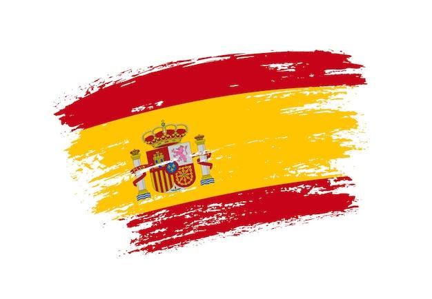 Pincelada grunge bandeira da espanha Vetor Premium