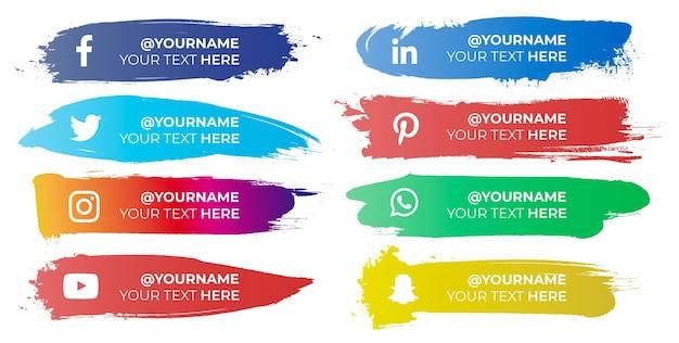 Pinceladas coloridas com ícones de mídia social Vetor grátis
