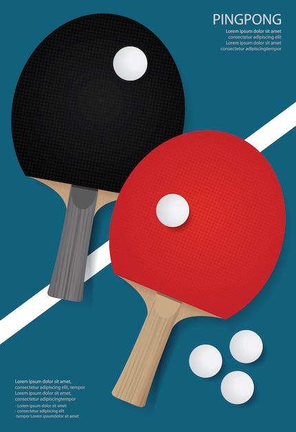 Ping pong poster template ilustração Vetor Premium