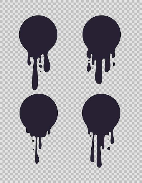 Pingando círculos pretos. tinta redonda formas líquidas com gotas de tinta para leite ou chocolate logo vector conjunto Vetor Premium