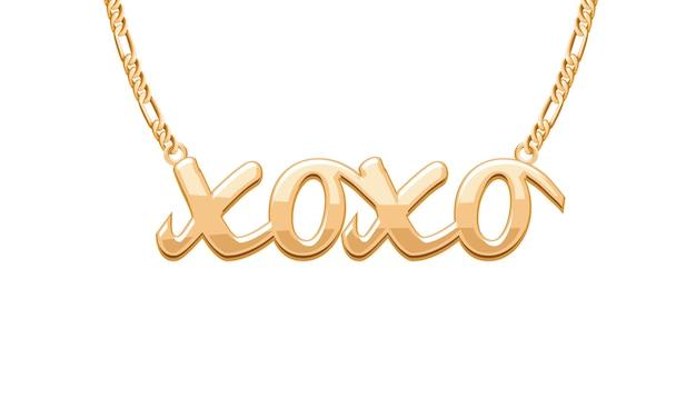 Pingente de palavra de abraço de beijo xoxo dourado em colar de corrente. joalheria . Vetor Premium