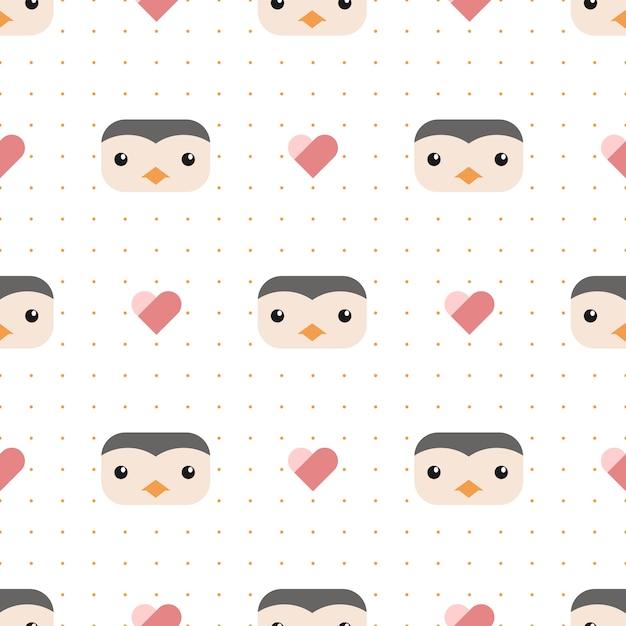 Pinguim bonitinho com padrão sem emenda de ponto e coração dos desenhos animados Vetor Premium