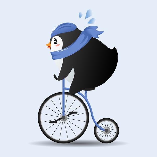Pinguim bonito dos desenhos animados andando de bicicleta com lenço azul. Vetor Premium