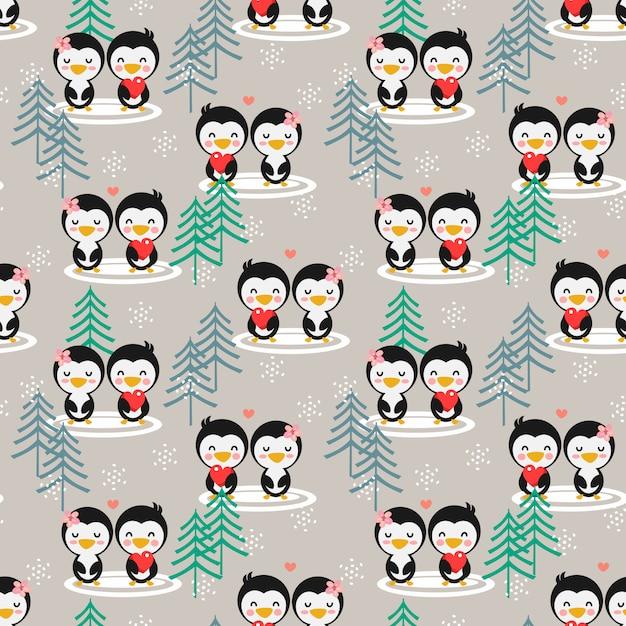 Pinguim bonito dos pares no teste padrão sem emenda da estação do inverno. Vetor Premium