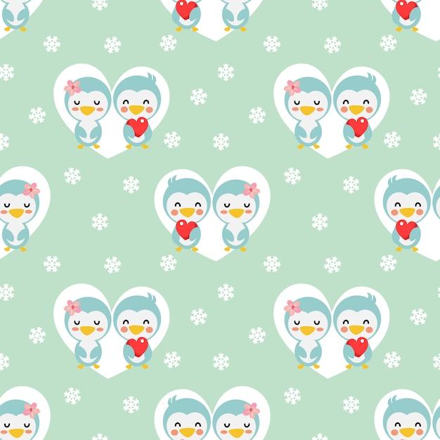 Pinguim bonito dos pares no teste padrão sem emenda do coração e da neve. Vetor Premium