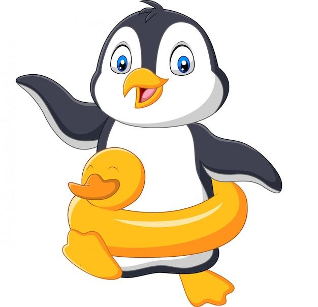 Pinguim de desenhos animados com anel inflável Vetor Premium