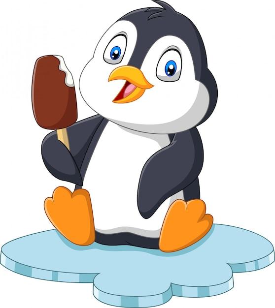 Pinguim de desenhos animados detém deleite de sorvete de chocolate Vetor Premium