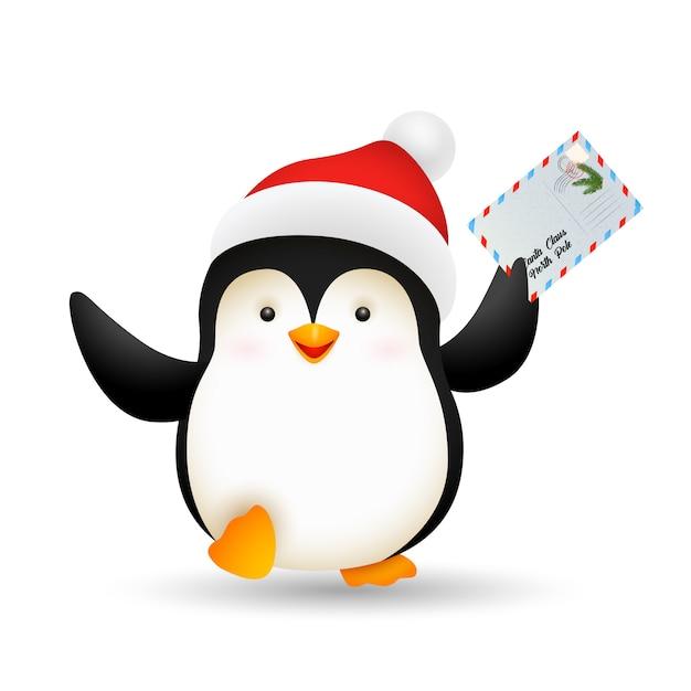 Pinguim de natal feliz segurando o cartão postal Vetor grátis