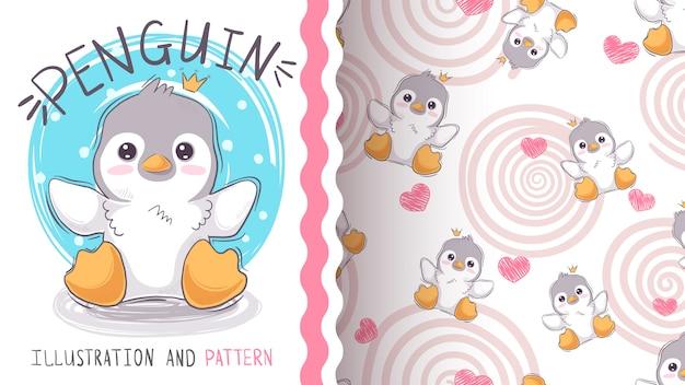 Pinguim de princesa bonito - maquete para a sua ideia Vetor Premium