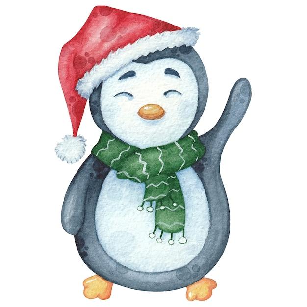 Pinguim em aquarela em cachecol verde e chapéu com presente. natal mão ilustrações desenhadas Vetor Premium