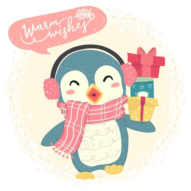 Pinguim feliz azul bonito usar cachecol e trazer caixa de presente, traje de inverno, desejos quentes felizes Vetor Premium