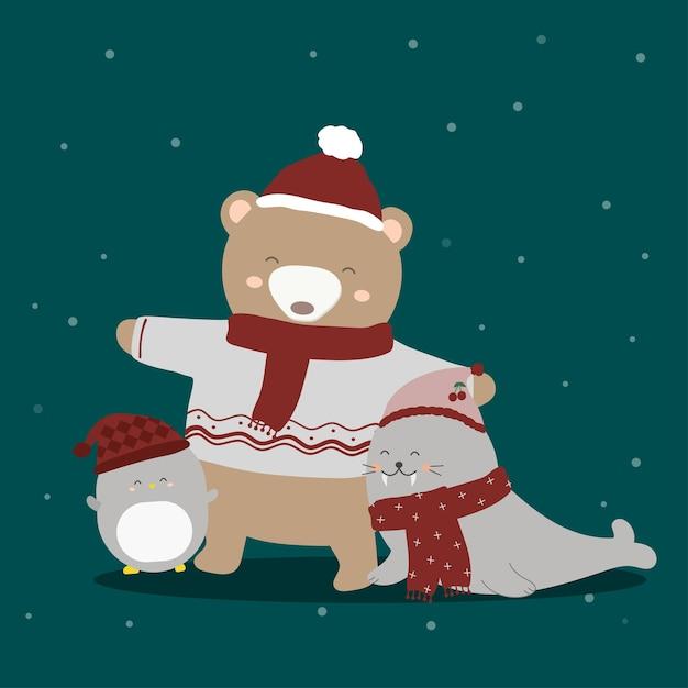 Pinguim, foca e urso em traje de inverno Vetor grátis