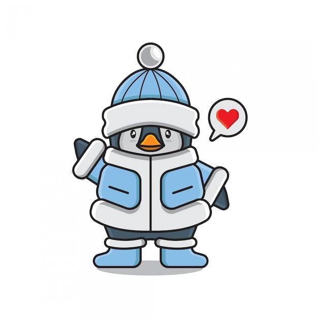 Pinguim fofo emoji amor Vetor Premium