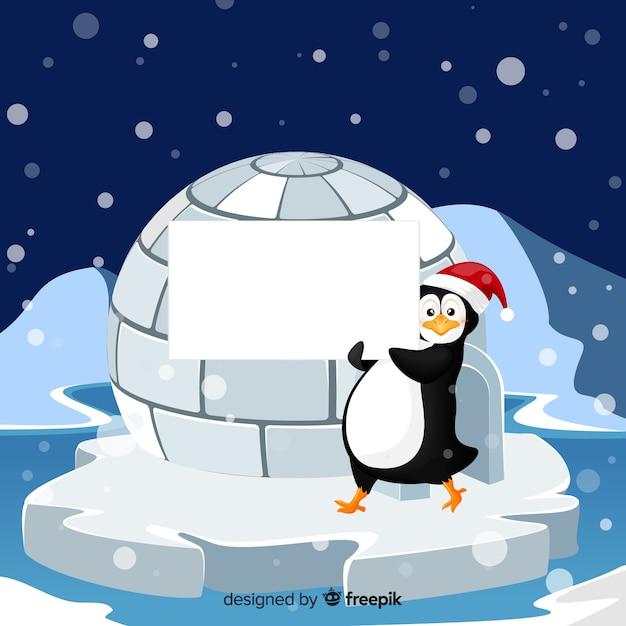 Pinguim, segurando, sinal branco Vetor grátis