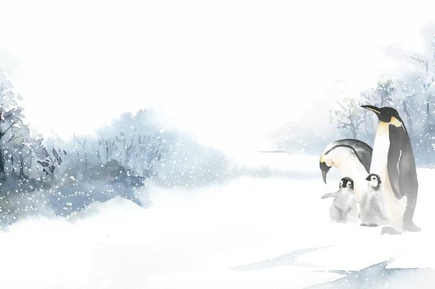 Pinguins em um vetor de aquarela de inverno das maravilhas Vetor grátis